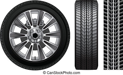 Wheel - Tire and Rim - Illustration of a wheel with tire and...