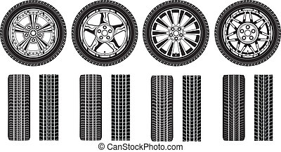 Wheel - Tires Alloy Rims and Tracks - Illustration of four...