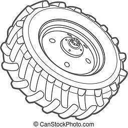wheel tractor outline