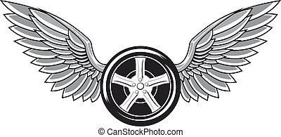 Wheel tyre with wings for tattoo and racing design