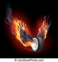 Wheel with fire wings