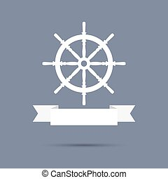 Wheel with ribbon. flat design. banner, graphic or website...