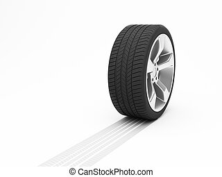 Wheel with tyre track isolated on white background
