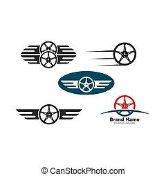 wheel with wings  icon vector illustration design