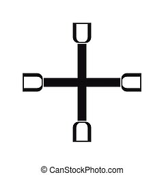 Wheel wrench cross icon, simple style