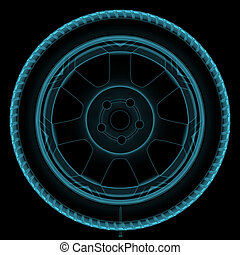 Wheel x-ray - Illustration of a x-ray of a wheel with a...