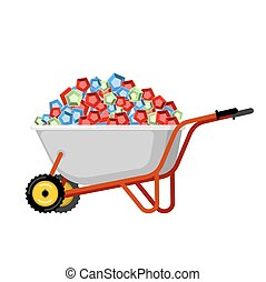 Wheelbarrow and gems. treasures in garden trolley. Vector Illustration