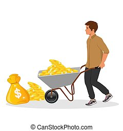 wheelbarrow and money bag, vector illustration