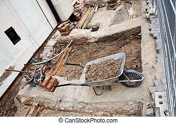 Wheelbarrow At a Construction Site