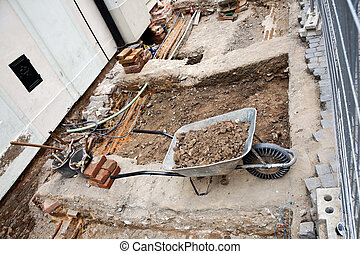 Wheelbarrow At a Construction Site