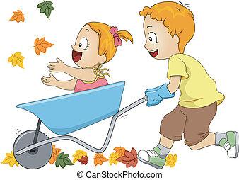 Wheelbarrow Autumn - Illustration of a Pair of Siblings...