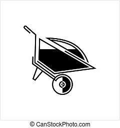 Wheelbarrow Cart, Wheelbarrow Vector Art Illustration
