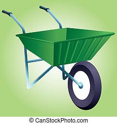 Wheelbarrow - A graphic icon of a garden wheelbarrow.