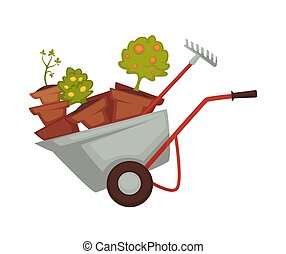 Wheelbarrow farming equipments and tools on vector...