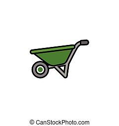 Wheelbarrow. Filled color icon. Gardening vector ...