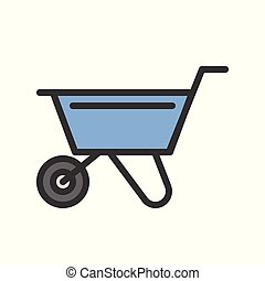 Wheelbarrow, Filled outline icon, handyman tool and equipment set