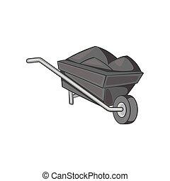 Wheelbarrow icon, black monochrome style