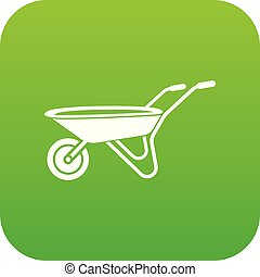 Wheelbarrow icon green vector