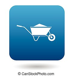 Wheelbarrow icon in simple style