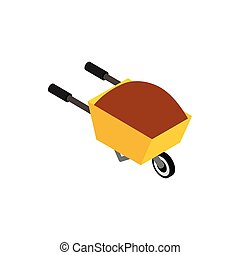Wheelbarrow icon, isometric 3d style