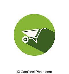 Wheelbarrow. Icon on a green circle. Gardening vector illustration
