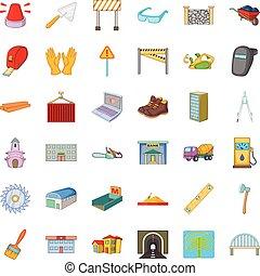 Wheelbarrow icons set, cartoon style