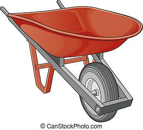 Wheelbarrow - Illustration of a wheelbarrow isolated on a...