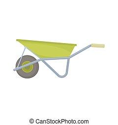 Wheelbarrow isolated flat icon - Wheelbarrow isolated on...