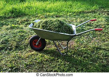 wheelbarrow on a lawn with fresh grass