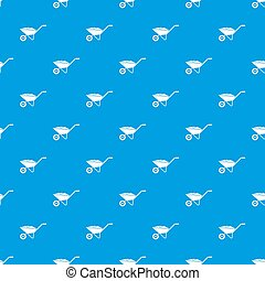 Wheelbarrow pattern seamless blue