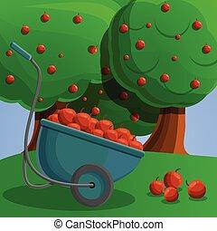 Wheelbarrow red apple concept banner, cartoon style