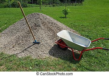 Wheelbarrow Shovel and Gravel