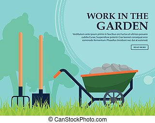 Wheelbarrow, shovel and pitchfork to work in the garden on a background of trees with space for your advertising. Vector