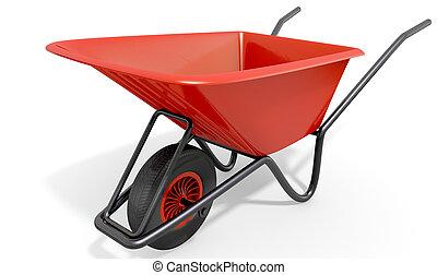 Wheelbarrow Studio Shot - A typical red garden wheelbarrow...