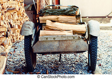 Wheelbarrow With Birch Firewood