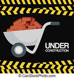 wheelbarrow with bricks under construction