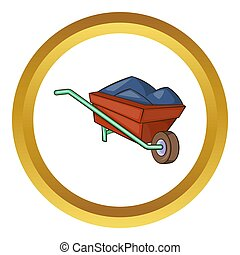 Wheelbarrow with earth  icon