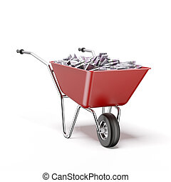 Wheelbarrow with euro bills