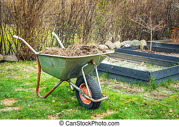 Wheelbarrow with garden waste