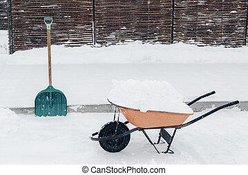 Wheelbarrow with snow