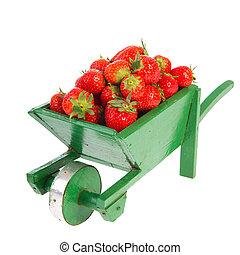 Wheelbarrow with strawberries