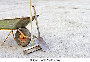 Wheelbarrow with tools