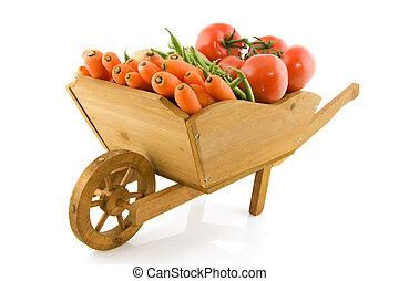 Wheelbarrow with vegetables
