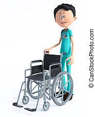 wheelchair., 3d, docteur, dessin animé, rendre