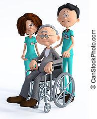 wheelchair., 3d, homme, docteur, infirmière, dessin animé, vieux, rendre