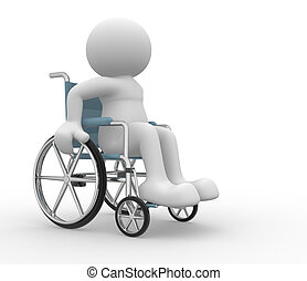Wheelchair - 3d people - human character , person in a...