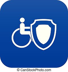 Wheelchair and safety shield icon digital blue