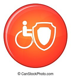 Wheelchair and safety shield icon, flat style