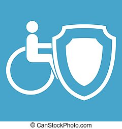 Wheelchair and safety shield icon white