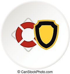 Wheelchair and shield icon circle